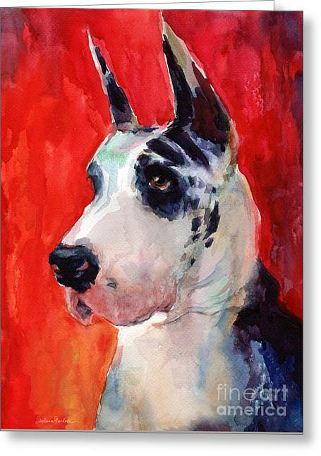 Great Dane Portrait Greeting Cards - Watercolor Harlequin Great Dane Dog Portrait 2  Greeting Card by Svetlana Novikova