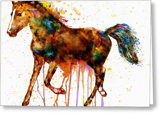 Sized Mixed Media Greeting Cards - Watercolor Horse Greeting Card by Marian Voicu