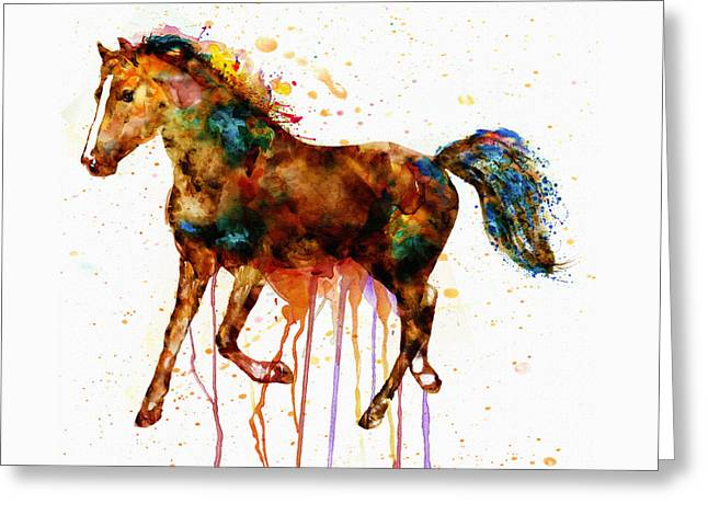 Sizes Greeting Cards - Watercolor Horse Greeting Card by Marian Voicu