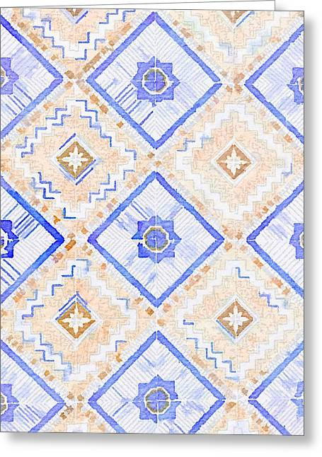 Watercolor Italian Ceramic Tile Greeting Card by Ariane Moshayedi