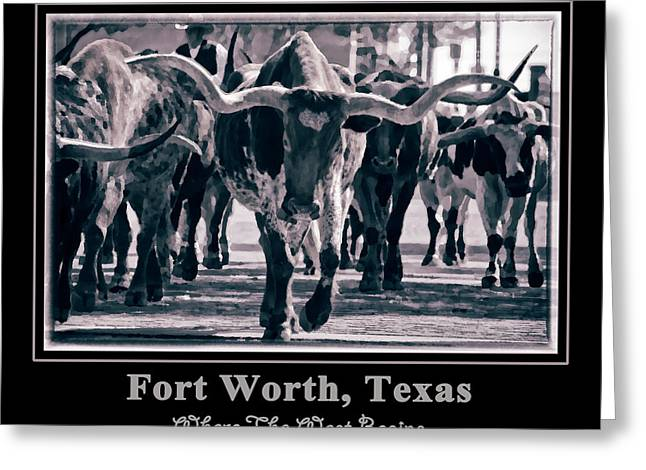 Cattle Drives Greeting Cards - Watercolor Longhorns 2015 Greeting Card by Joan Carroll