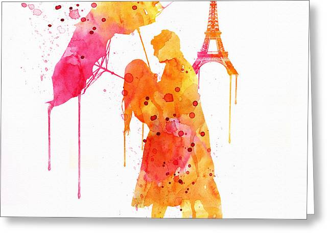 Dripping Paint Greeting Cards - Watercolor Love Couple in Paris Greeting Card by Marian Voicu