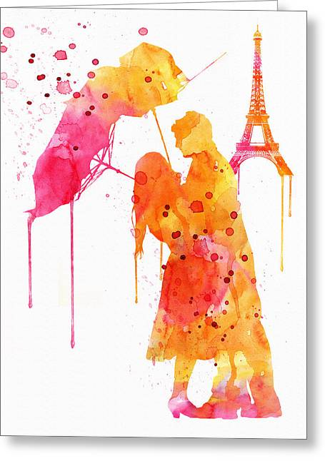 Sizes Greeting Cards - Watercolor Love Couple in Paris Greeting Card by Marian Voicu