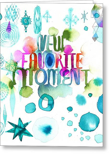 Geometric Style Greeting Cards - Watercolor New Favorite Item Lettering Greeting Card by Gillham Studios