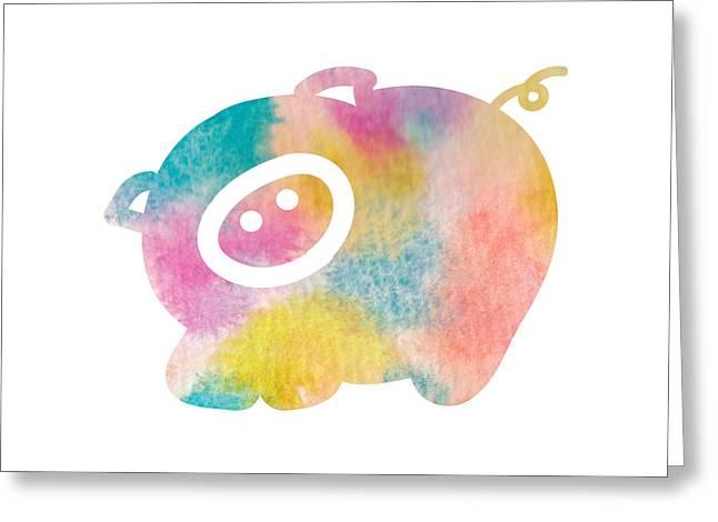 Nursery Art Greeting Cards - Watercolor nursery print - cute pig Greeting Card by Nursery Art