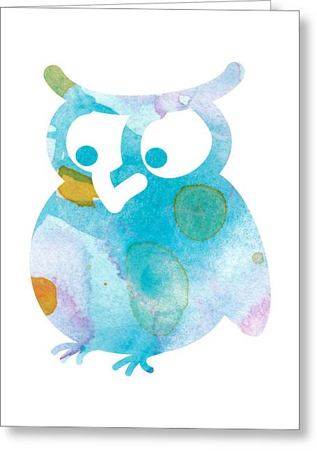 Cute Owl Greeting Cards - Watercolor Owl Greeting Card by Nursery Art