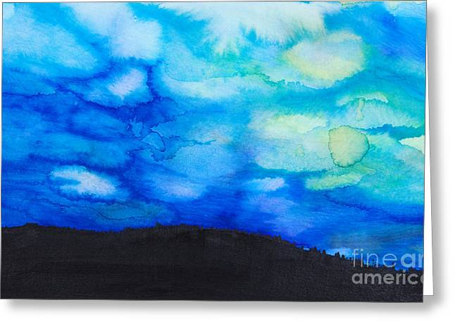 Unique Art Greeting Cards - Dramatic Sky Watercolor Greeting Card by Tara Thelen