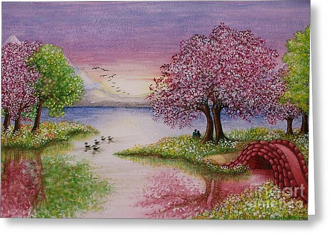 Sky Lovers Art Greeting Cards - Watercolor Painting of Romantic Lake Scene Greeting Card by Evelyn Sichrovsky