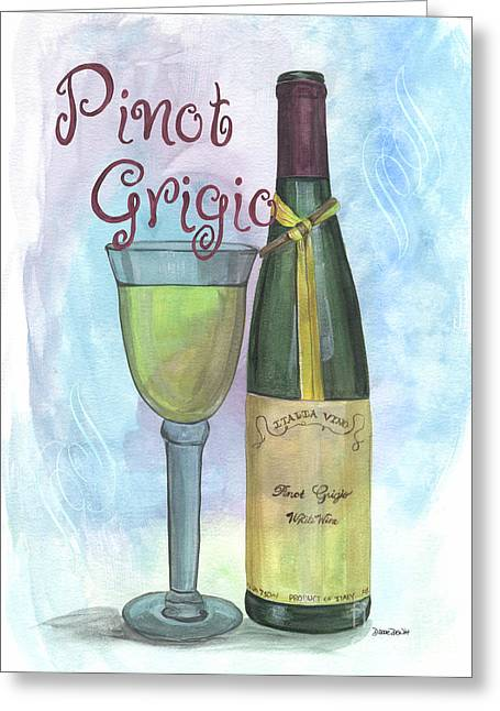 Blue Grapes Greeting Cards - Watercolor Pinot Grigio Greeting Card by Debbie DeWitt