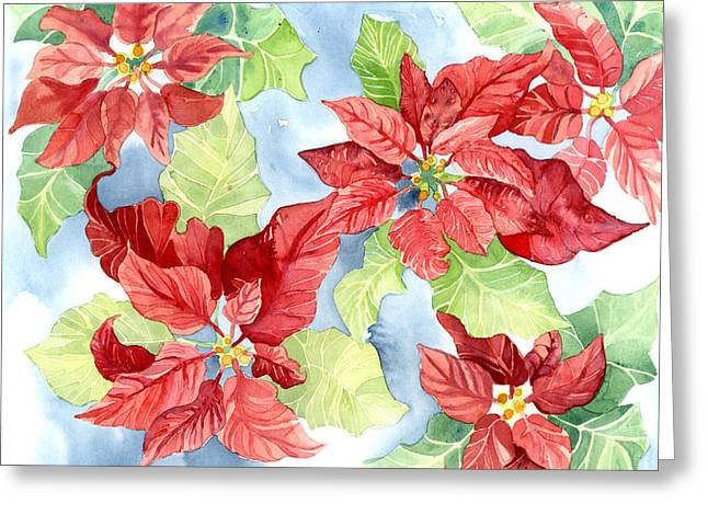 Watercolor Poinsettias Christmas Decor Greeting Card by Audrey Jeanne Roberts