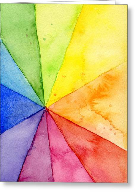 Watercolor Rainbow Beachball Pattern Greeting Card by Olga Shvartsur