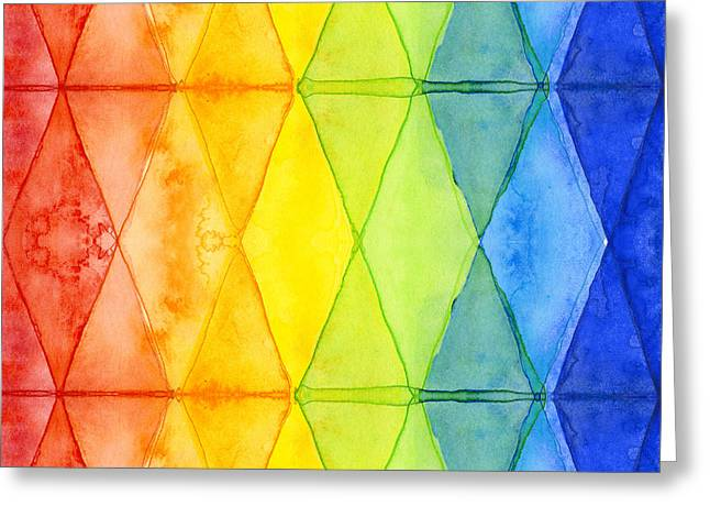 Watercolor Rainbow Pattern Geometric Shapes Triangles Greeting Card by Olga Shvartsur