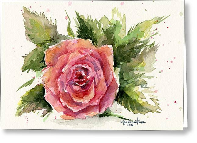 Watercolor Rose Greeting Card by Olga Shvartsur