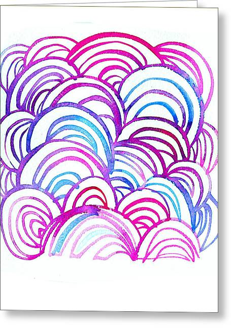 Art Nouveau Style Greeting Cards - Watercolor Scallops In Pink And Blue Greeting Card by Gillham Studios