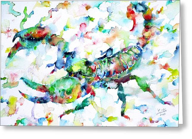 Stinger Greeting Cards - Watercolor Scorpion Greeting Card by Fabrizio Cassetta