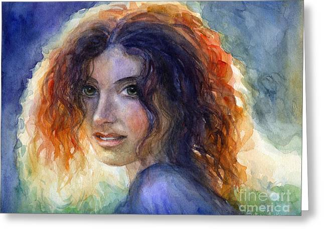 Mat Greeting Cards - Watercolor Sunlit Woman Portrait 2 Greeting Card by Svetlana Novikova