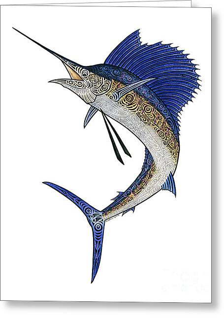 Scuba Diving Mixed Media Greeting Cards - Watercolor Tribal Sailfish Greeting Card by Carol Lynne