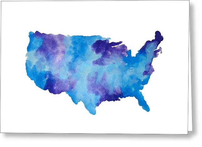 Watercolor Usa Map Painting by Michelle Eshleman