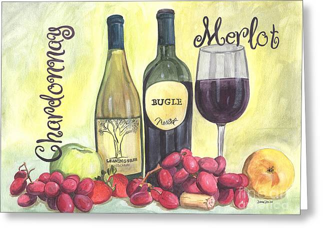 Watercolor Wine Greeting Card by Debbie DeWitt