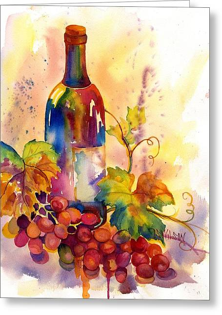 Green Burgandy Greeting Cards - Watercolor Wine Greeting Card by Peggy Wilson