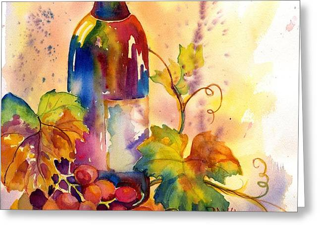 Watercolor Wine Greeting Card by Peggy Wilson