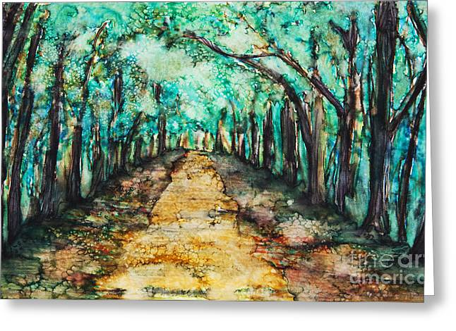 Unique Art Greeting Cards -  Path Lined With Trees Greeting Card by Tara Thelen