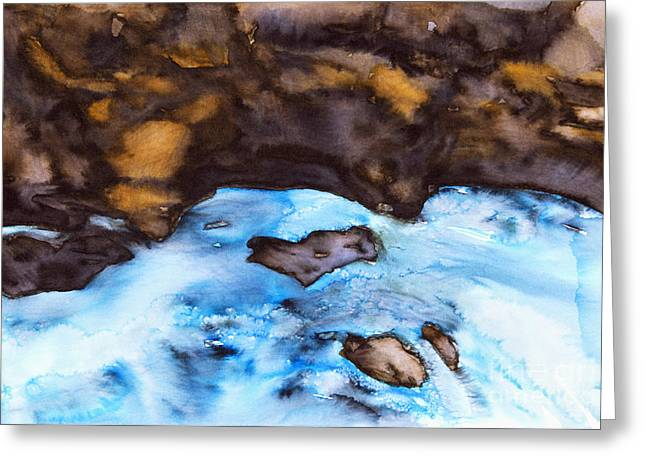 Unique Art Greeting Cards -  Water Flowing Over Rocks Greeting Card by Tara Thelen