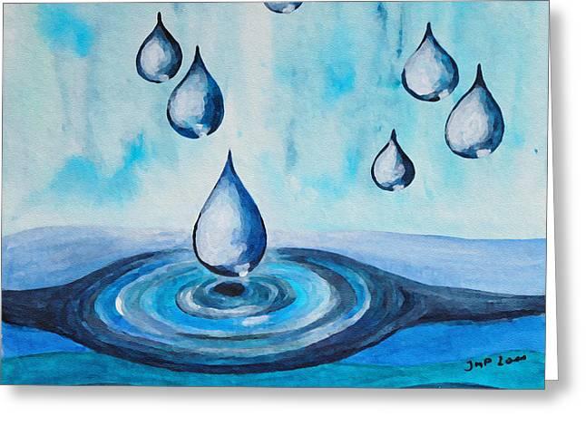 Droplet Paintings Greeting Cards - Waterdrops Greeting Card by Jutta Maria Pusl