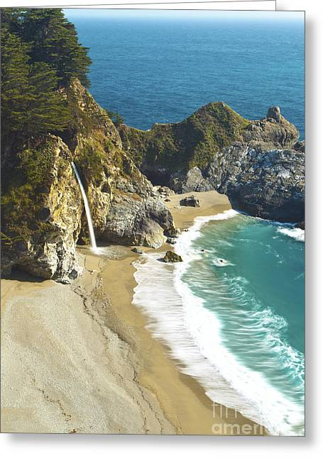 Best Sellers -  - Pfeiffer Beach Greeting Cards - Waterfall along Big Sur II Greeting Card by MakenaStockMedia