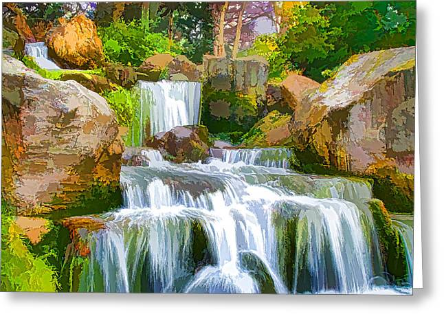 Waterfall And Blue Stream In The Yellow Forest Greeting Card by Lanjee Chee