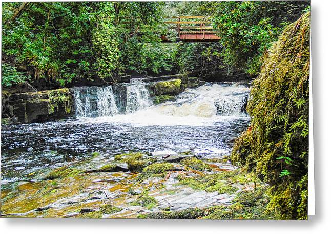 Woodland Scenes Greeting Cards - Waterfall and Bridge Greeting Card by Felikss Veilands