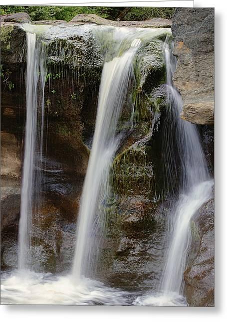 Stream Greeting Cards - Waterfall Art - Balance Peace and Joy Greeting Card by Jordan Blackstone
