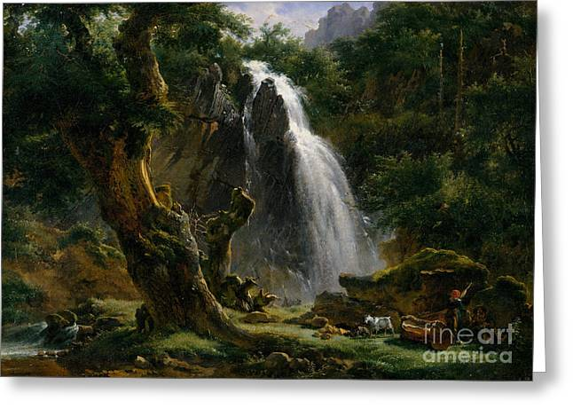 Dore Paintings Greeting Cards - Waterfall at Mont-Dore Greeting Card by Celestial Images