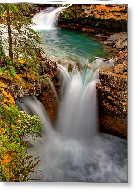 Waterfall Canyon Greeting Card by Scott Mahon