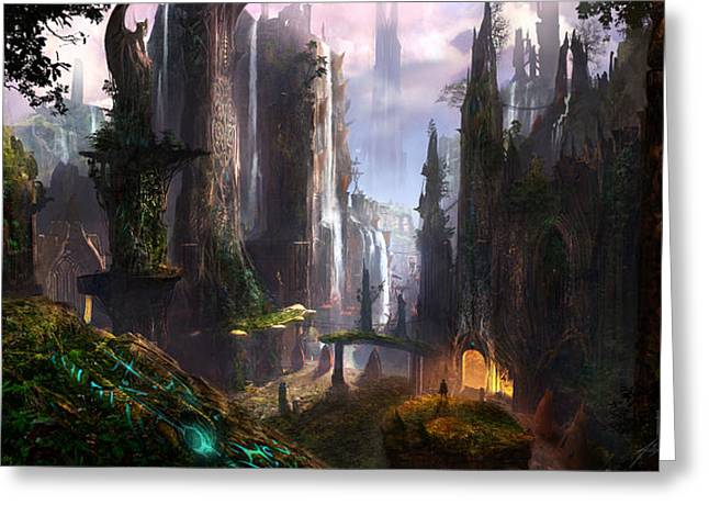 Concept Art Greeting Cards - Waterfall Celtic Ruins Greeting Card by Alex Ruiz