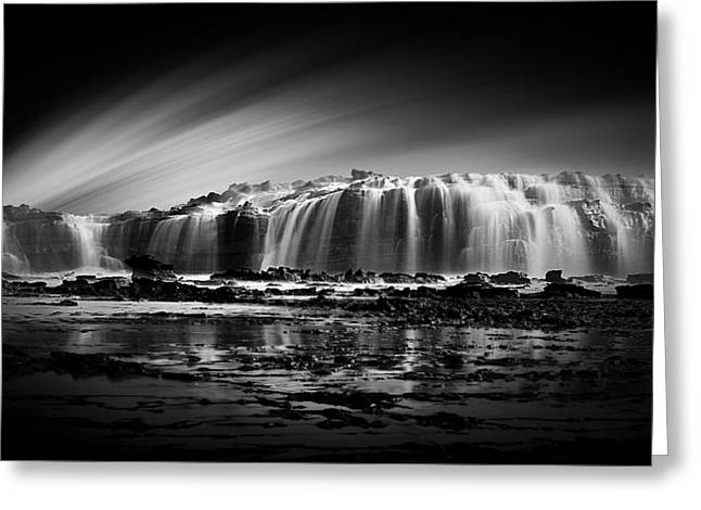 Cliffs And Water Greeting Cards - Waterfall Greeting Card by Eko Hernowo