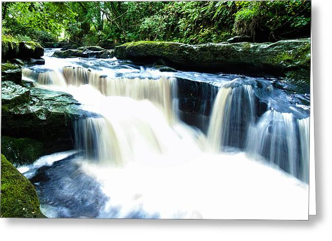 Woodland Scenes Greeting Cards - Waterfall Greeting Card by Felikss Veilands