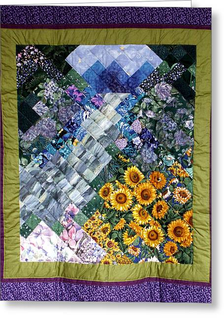 Hand Tapestries - Textiles Greeting Cards - Waterfall Garden Quilt Greeting Card by Sarah Hornsby