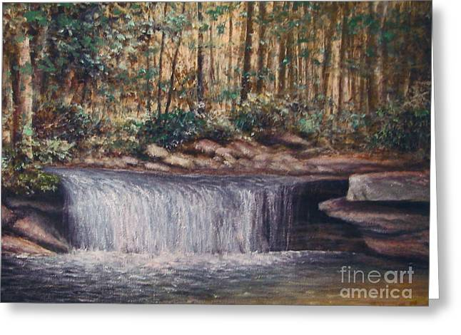 Fall Trees With Stream. Greeting Cards - Waterfall Glory Greeting Card by Penny Neimiller