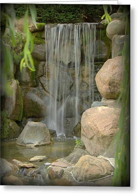 Forest Photographs Greeting Cards - Waterfall in Japanese Garden - IV Greeting Card by Tam Graff