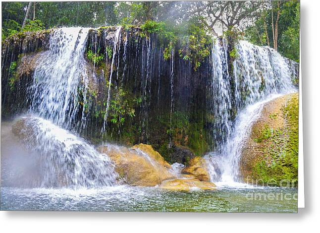 Waterfall Tapestries - Textiles Greeting Cards - Waterfall in Rain Greeting Card by James Hennis