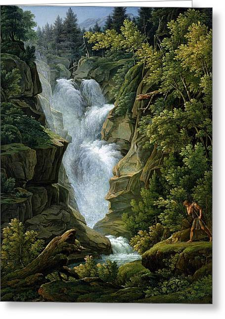 Berner Greeting Cards - Waterfall in the Bern Highlands Greeting Card by Joseph Anton Koch