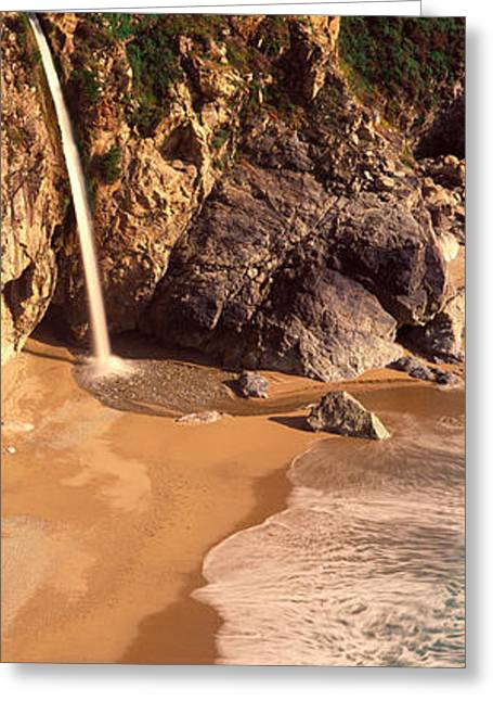 Big Sur Ca Greeting Cards - Waterfall, Mcway Cove, Big Sur, Ca Greeting Card by Panoramic Images