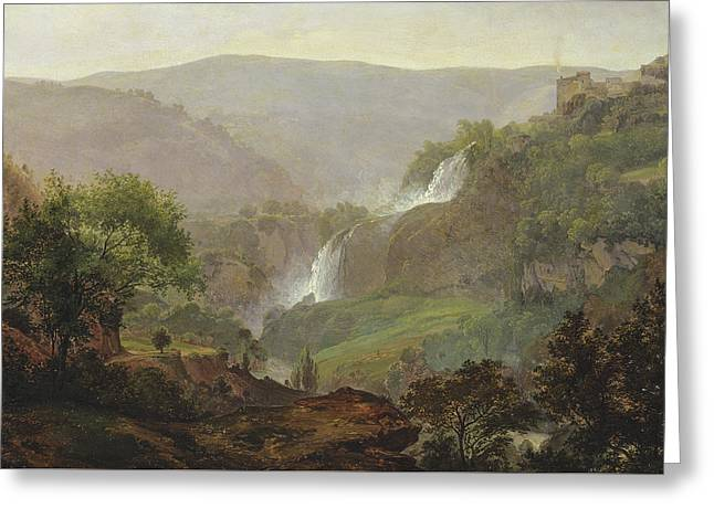 Nature Scene Paintings Greeting Cards - Waterfall near Tivoli Greeting Card by Johann Martin von Rohden