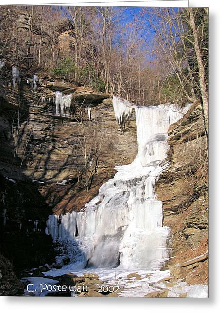 Waterfall On Route 60 Greeting Card by Carolyn Postelwait