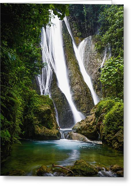 Peaceful Scenery Greeting Cards - Waterfall Over Moss Covered Cliff Greeting Card by David Kirkland
