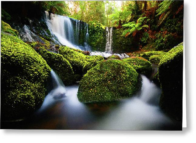 Waterfall Greeting Cards - Waterfall Painting Waterfall Prints On Canvas - Horseshoe Waterfalls Greeting Card by Frances Leigh