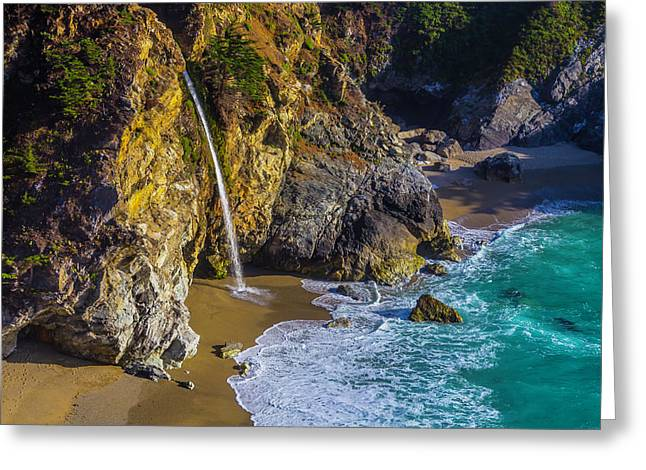 Waterfall Pouring Into The Ocean Greeting Card by Garry Gay