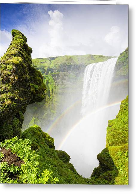 Fresh Green Greeting Cards - Waterfall Skogafoss Iceland in green paradise Greeting Card by Matthias Hauser