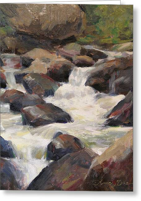 Rushing Water Greeting Cards - Waterfall Study Greeting Card by Anna Bain
